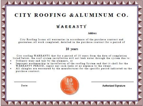 Warranty for Roofing warranty certificate template free